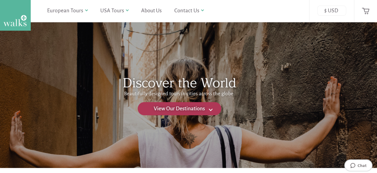 This is a screenshot taken from TakeWalks.com showing they provide walking tours for international vacationers to explore cities around the world on foot.