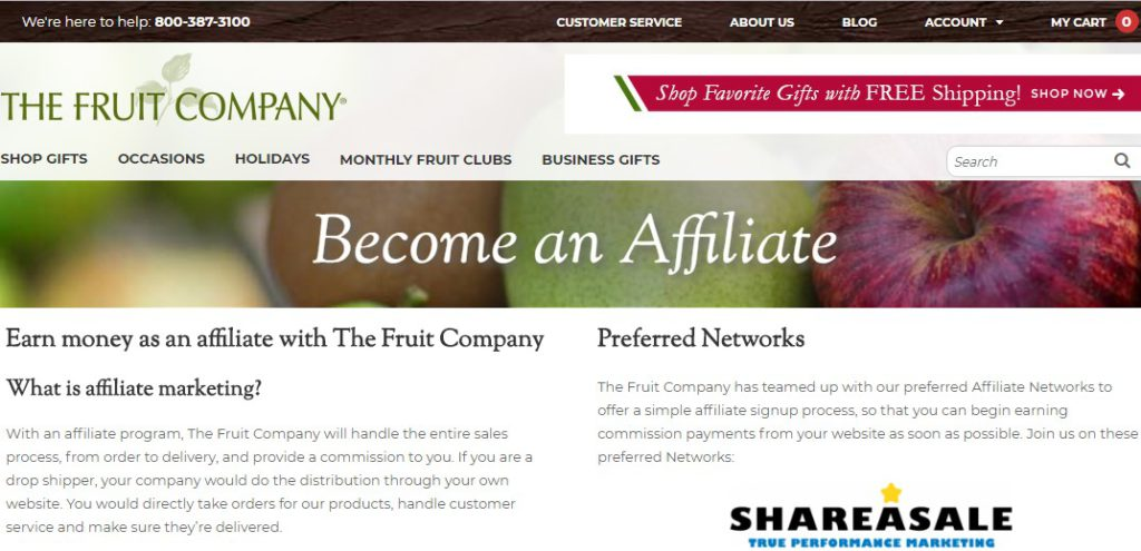 the fruit company affiliate sign up page
