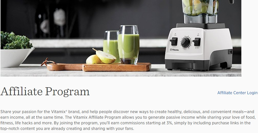 vitamix affiliate sign up page