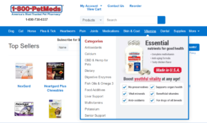 This is a screenshot taken from the 1800petmeds.com online pet pharmacy where affiliates can earn commissions on all their essential nutrients for pets including vitamins and other supplements.