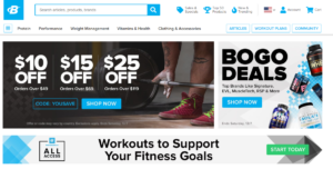 This is a screenshot taken from the bodybuilding.com website that sell a range of bodybuilding supplements including protein, casein, whey and more.