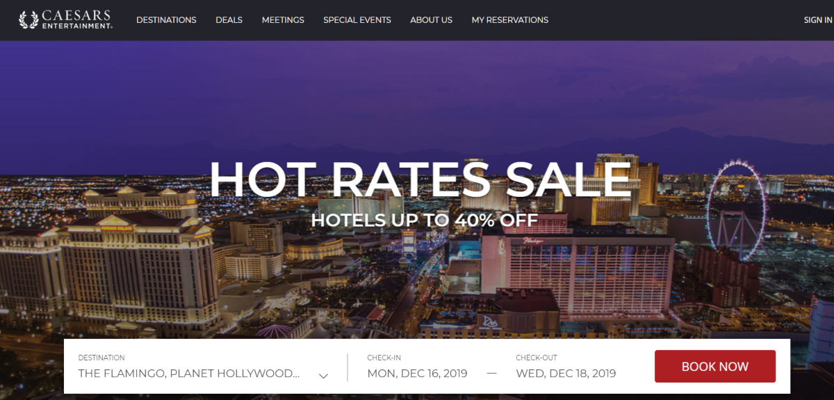 This is a screenshot taken from the official Ceasars website where they have hotels with casinos and up to 40% savings on direct room bookings with Ceasars Entertainment Hotels.