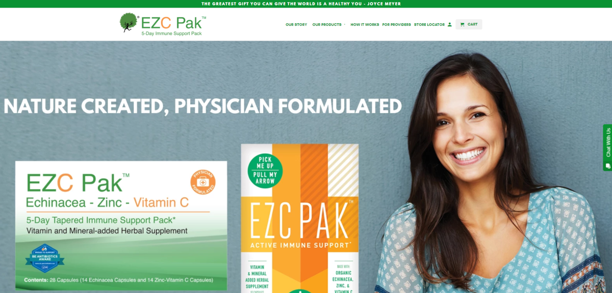 This is a screenshot taken from the EZCpak.com website, which has an affiliate program for people to earn commissions by referring people to buy a 5-day immune support pack that's formulated by a US-based physician to help reduce antibiotic dependency.