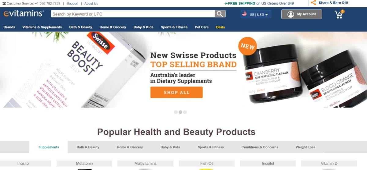 This is a screenshot of the evitamins.com health and wellness store that stocks a variety of supplements for people as well as pet supplements. Affiliates can use deep linking to promote any category of supplements sold on evitamins.com