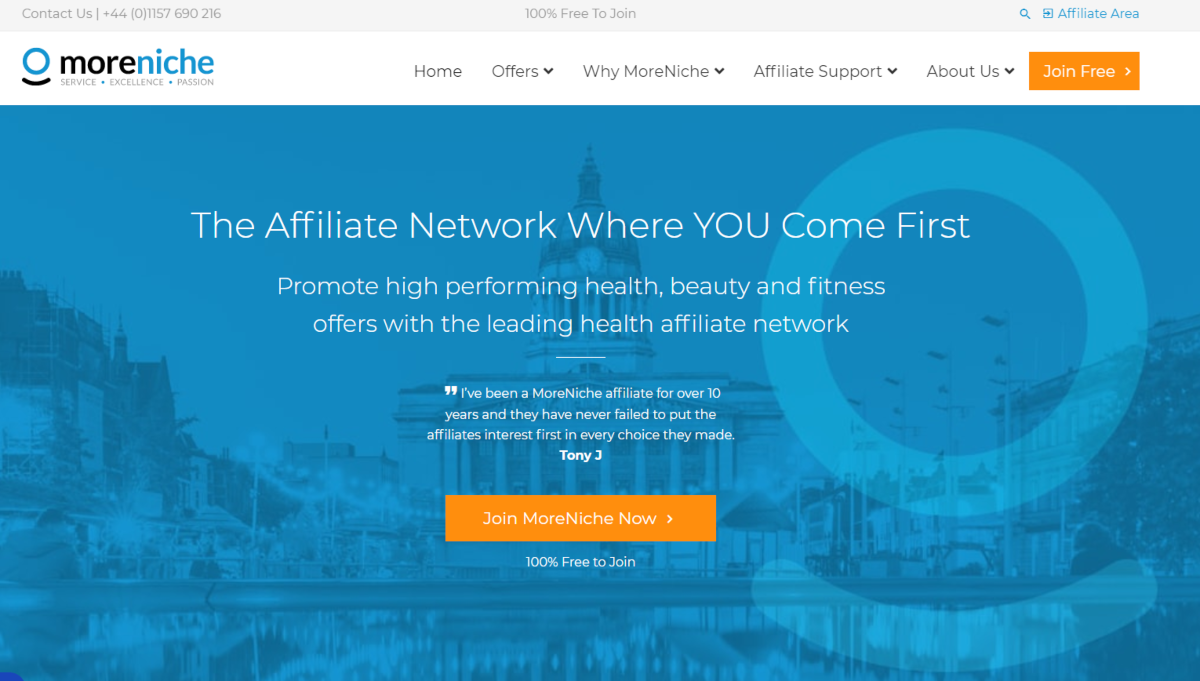 This is a screenshot taken from the Moreniche.com website that shows that they are an affiliate network where affiliates can join and promote high perferming health, beauty and fitness offers.
