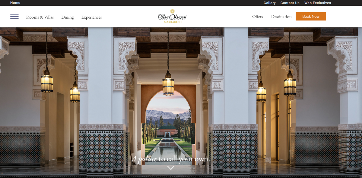 This is a screenshot taken from the official Oberoi Hotels Group website showing a view from inside one of their 5-star Grand hotels in India,