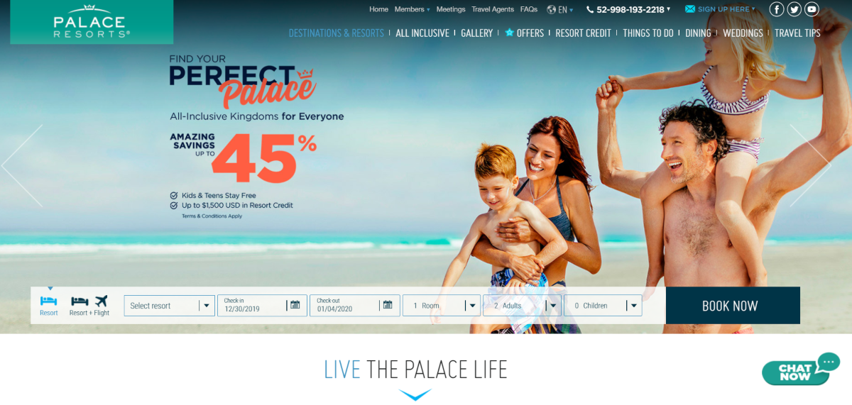 This is a screenshot of the Palace Resorts website, which operate a number of upmarket hotels in Mexica and Jamaica for Caribbean holidays with up to 45% savings and deals for kids to stay free.
