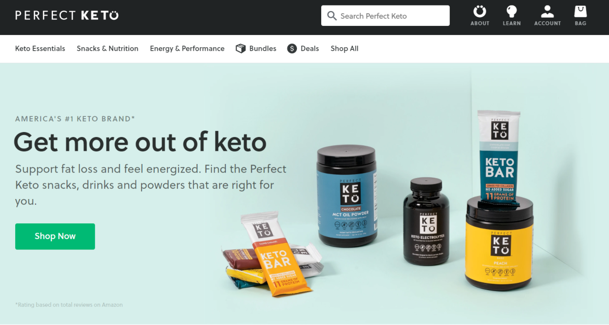 This is a screenshot of the Prefect Keto website where people can buy supplements like electrolytes and MCT oil to help make going keto easier and those new to the ketogenic diet avoid the keto flu by using supplements.