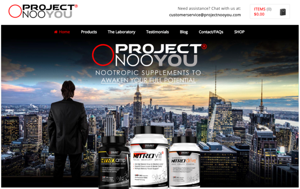 This is a screenshot of the ProjectNooYou.com website where affiliates can promote their US-made nootrpopics called Nitrovit and earn 40% commission on every sale.