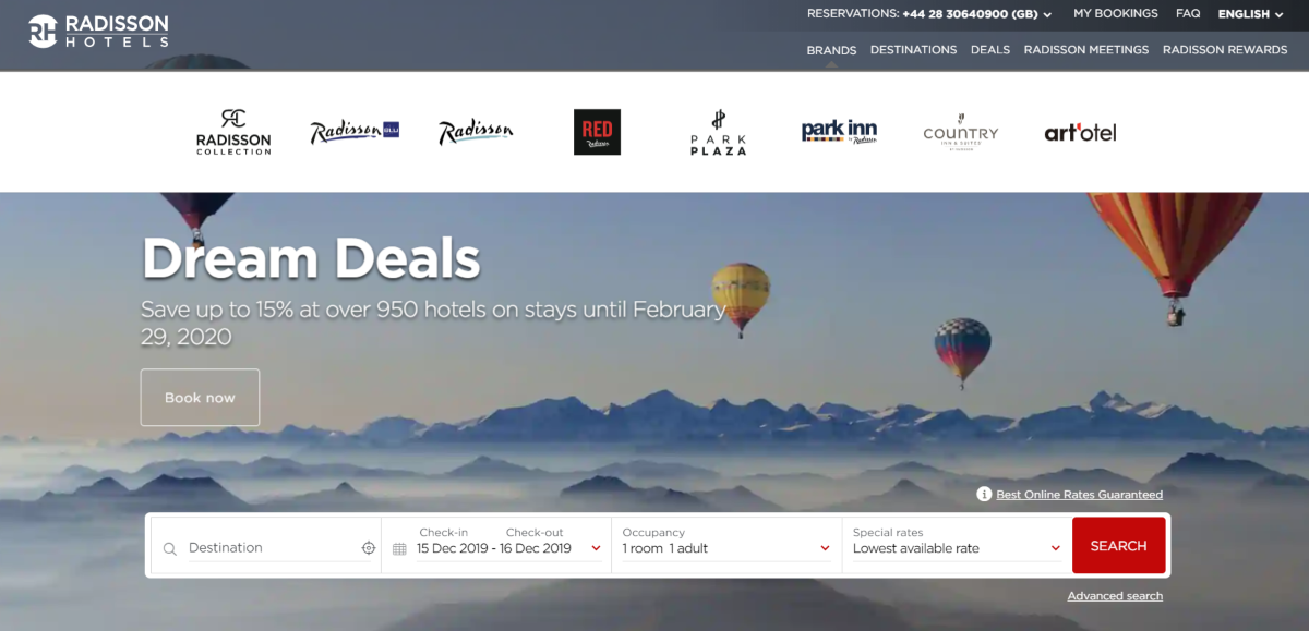 This is a screenshot of the Radisson Hotels Group website showing they deals available on 950 of their hotel brands, which include the Radisson Collection, Park Plaza and Park Inn Hotels by Radisson.