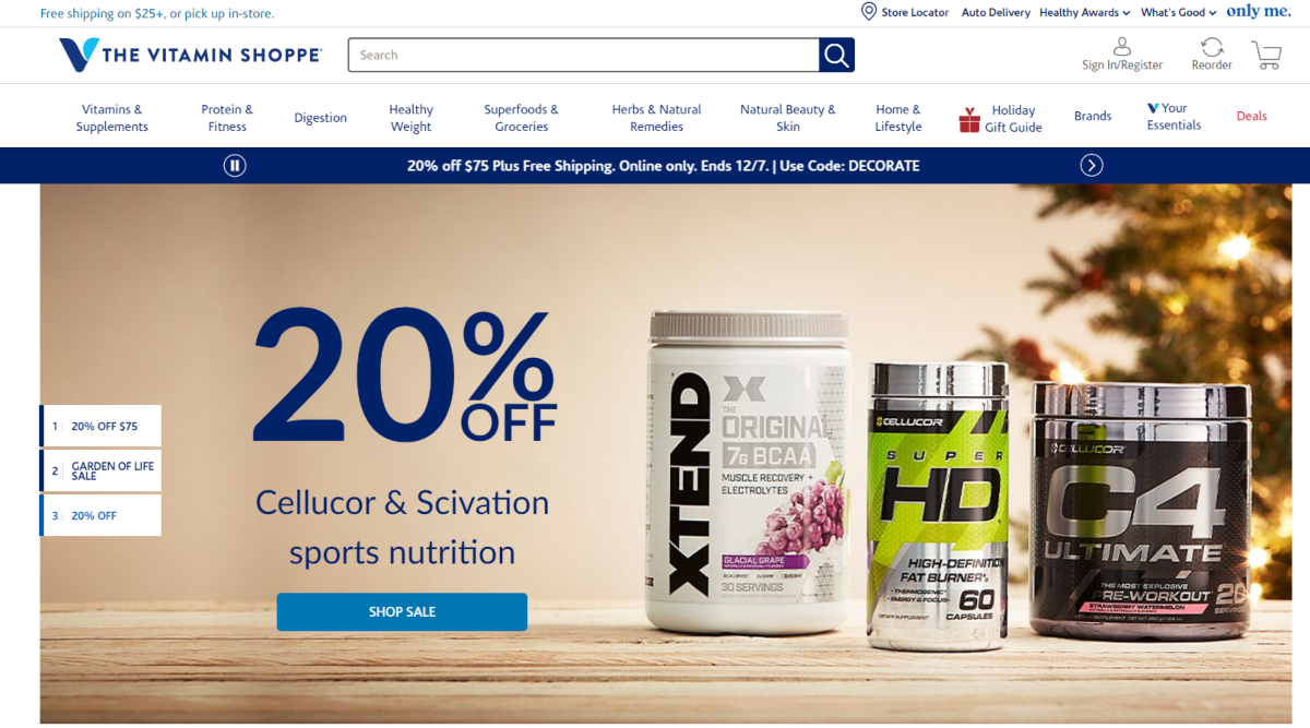 This is a screenshot of thevitaminshoppe.com website showing they have a huge range of supplements for health and wellness as well as a category devoted to superfoods.