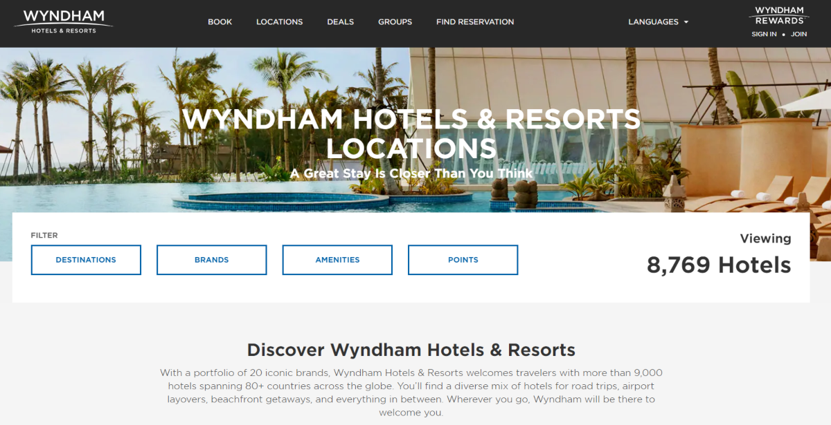 This is s a screenshot of the Wyndham Hotels website showing they have 8,769 hotel rooms available and a loyalty rewards scheme to encourage repeat bookings.