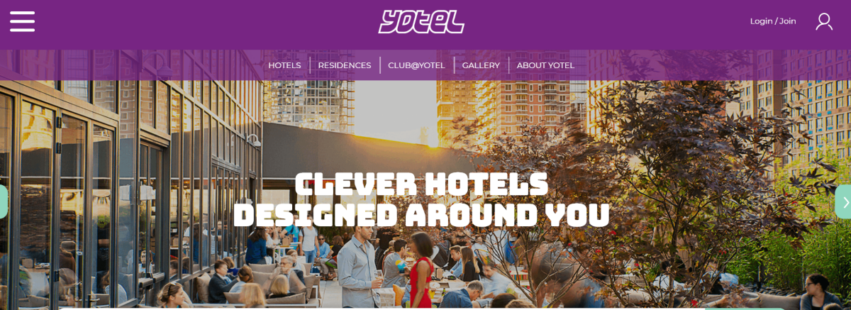This is a screenshot taken from the Yotel.com website showing they have clever hotels that use smart technology to make the most of compact spaces in city centre hotel rooms