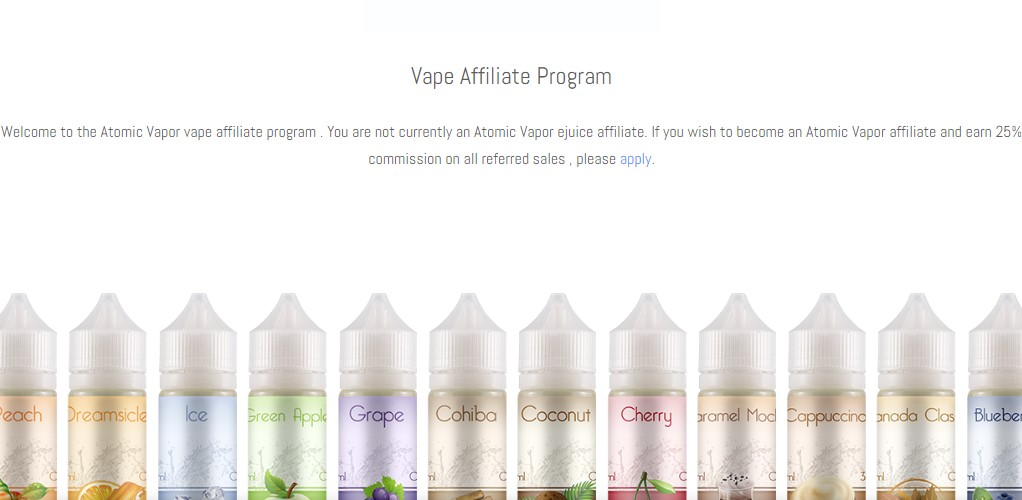atomic vapor affiliate sign up page