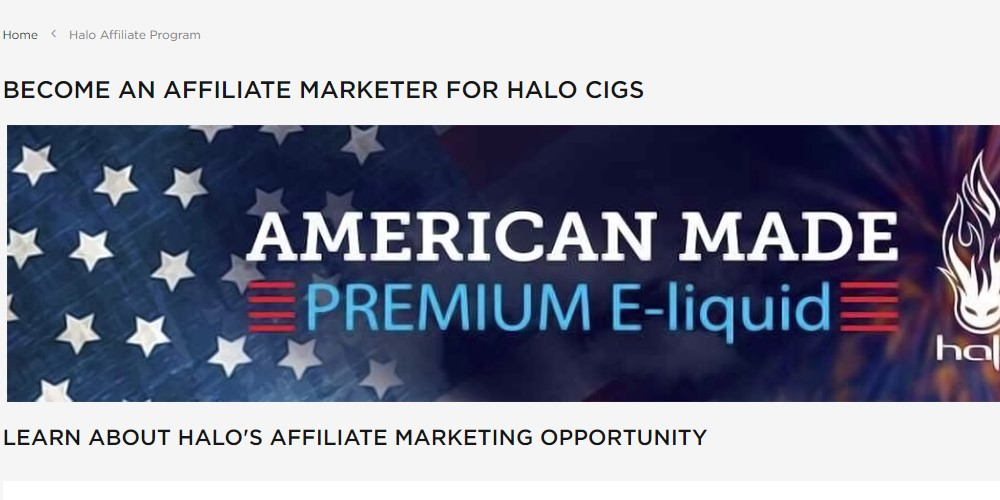 halo cigs affiliate program sign up page
