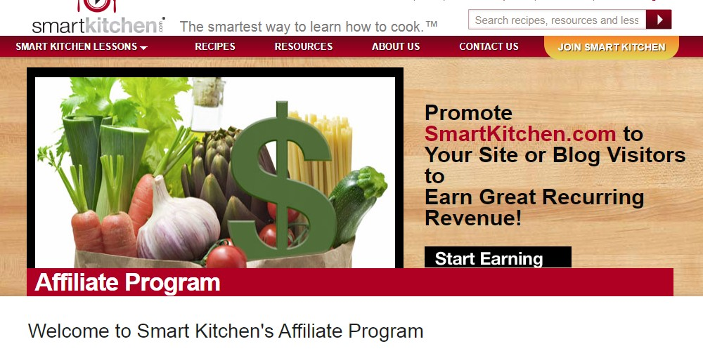 smart kitchen affiliate signup page