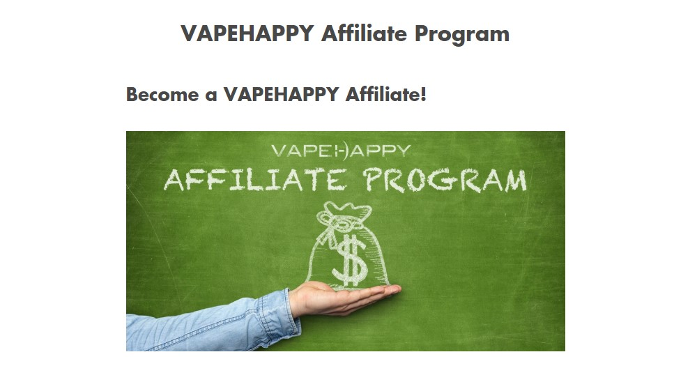 vape happy affiliate sign up page