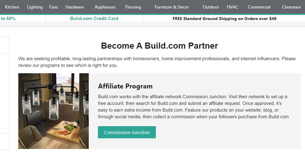 build.com affiliate sign up page