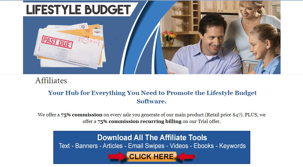 lifestyle budget affiliate sign up page