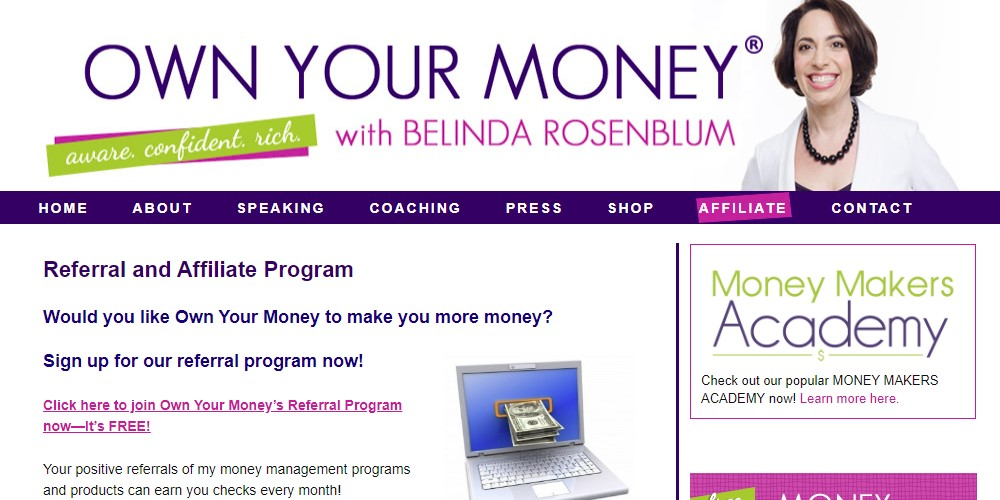 own your money affiliate sign up page