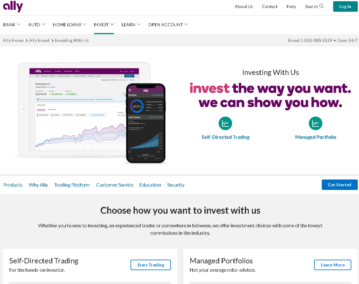 This is a screenshot of the Ally.com investment page, which the banks affiliate program is for. It offers two investor accounts - a self-directed trading account or a managed portfolio.