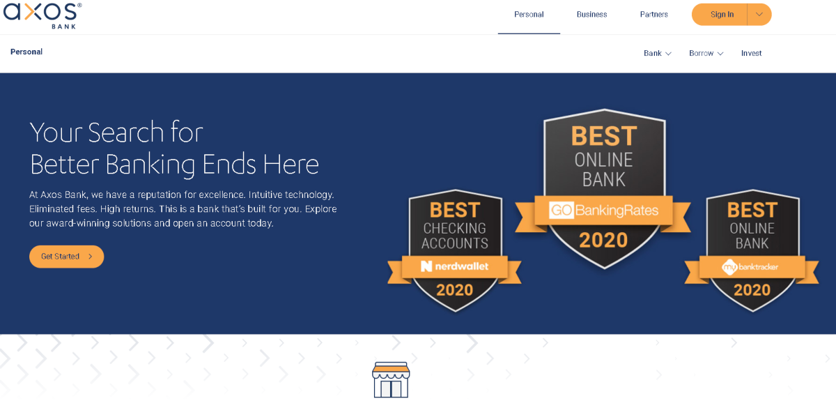 This is a screenshot of the Axos Bank website showing they are an award-winning brand with an excellent reputation. Voted best for Checking accounts by NerdWallet and the Best for Online Banking by Go Banking Rates and My Bank Tracker.