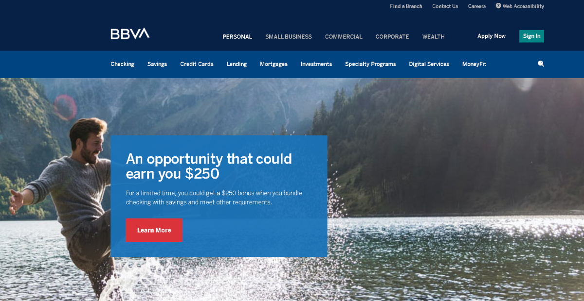 The image shows a screenshot taken from the BBVAUSA.com website. A US bank with an affiliate program covering a variety of bank accounts.