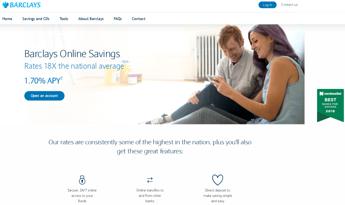 This is a screenshot of the landing page for Barclays Online Savings. It shows they were awarded the BEST Banks for Savings Award in 2019 by NerdWallet. The barclays bank affiliate program is only on these savings accounts.