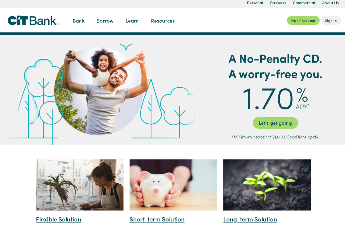 This is a screenshot of the CIT bank's official site. The CIT bank affiliate program covers a range of savings accounts for consumers including no-penalty CD accounts.