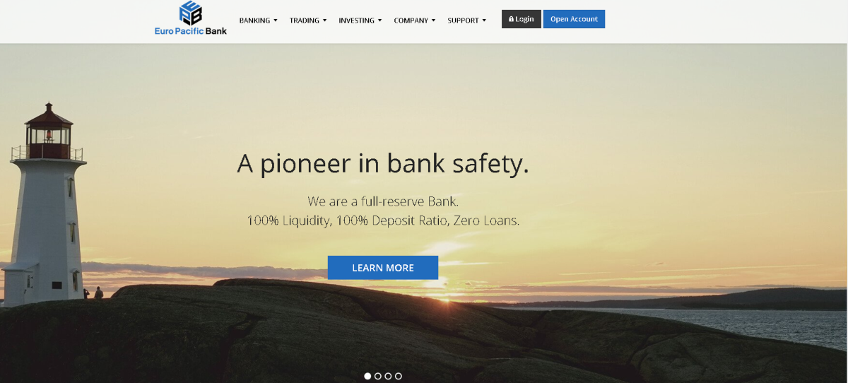 "This image is a screenshot taken from the Euro Pacific Bank website, which bills itself a as ""a pioneer in bank safety"". The Euro Pacific Bank is a full-reserve bank with accounts suited to investors."