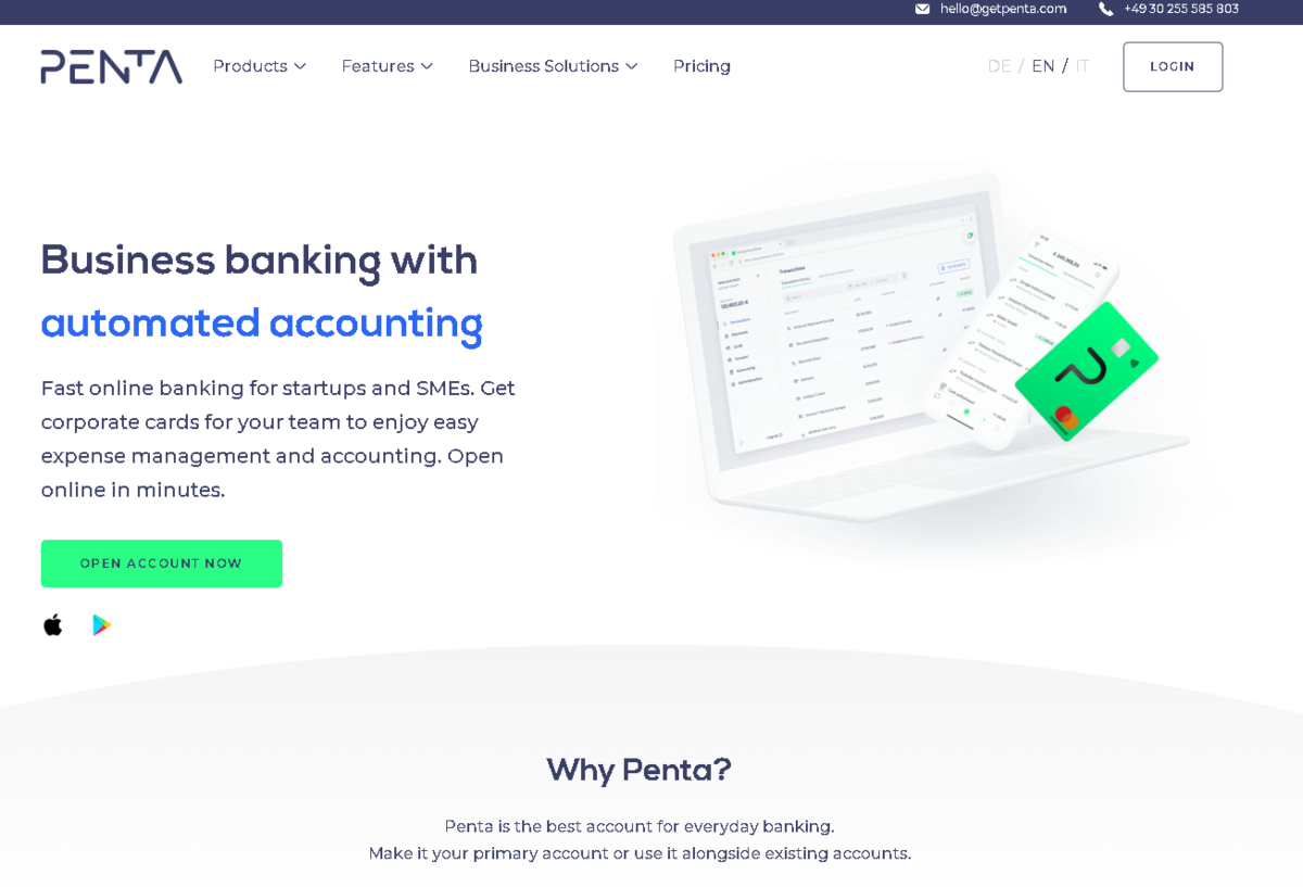 "This is a screenshot from the GetPenta.com website that offers ""business banking with automated accounting""."