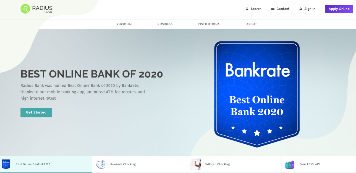 This is a screenshot of the Radius Bank website showing they have been voted the Best Online Bank in 2020 by Bankrate.