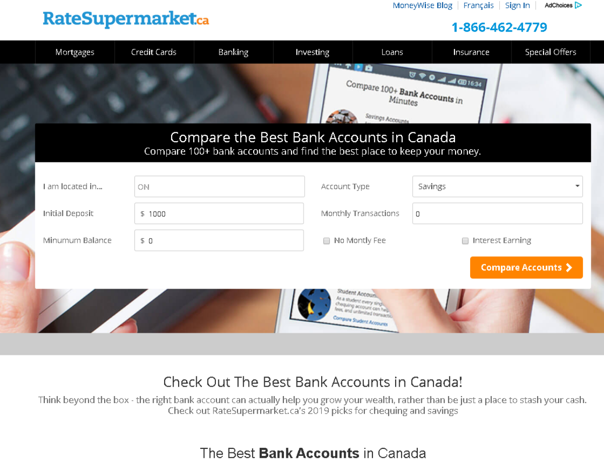 This is a screenshot showing the bank accounts category on RateSupermarket.ca. A site that makes it easy for Canadian consumers to compare over 100 bank accounts.