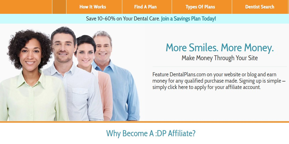 dental plans affiliate sign up page