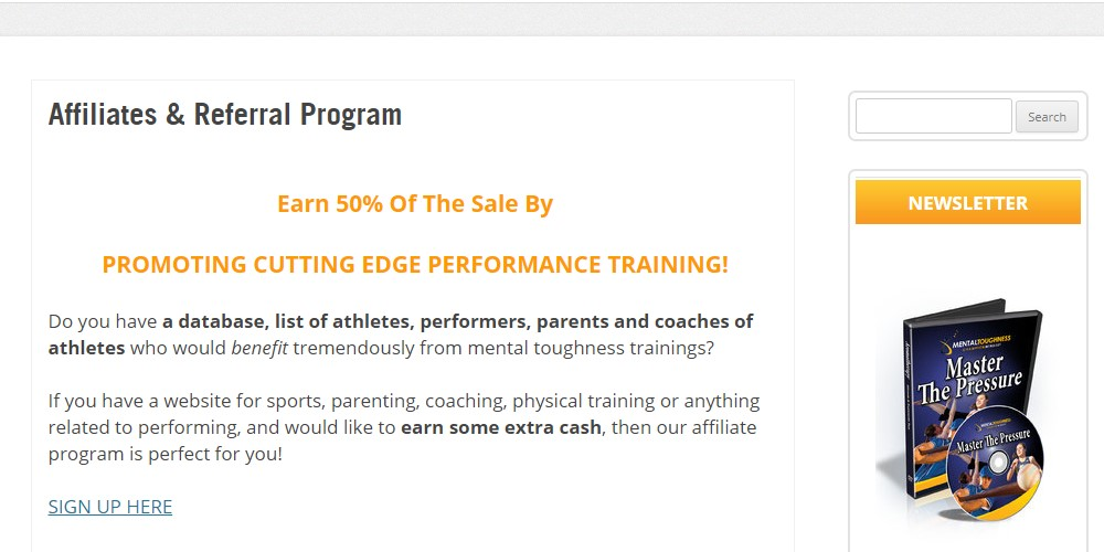 mental toughness trainer affiliate program sign up page
