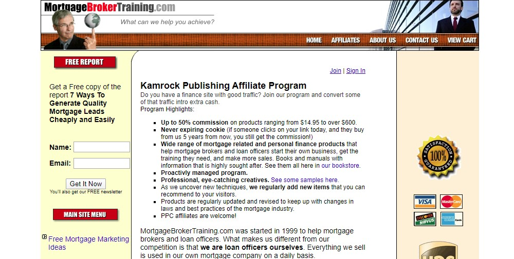 mortgage broker training affiliate sign up page
