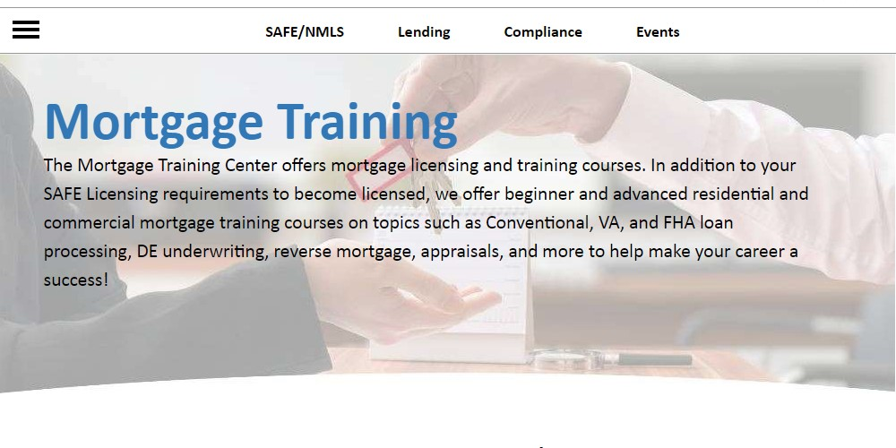 mortgage training center home page