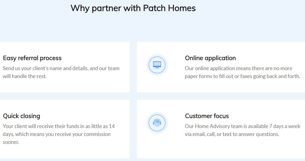 patch homes affiliate sign up page