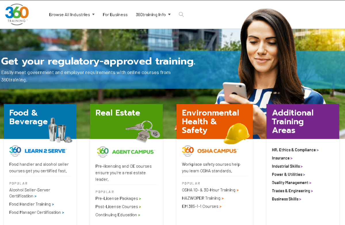This is a screenshot of the 360training.com website showing it's a regulatory-approved training organization for a variety of industries including food and beverages, OSHA, Real Estate and more.