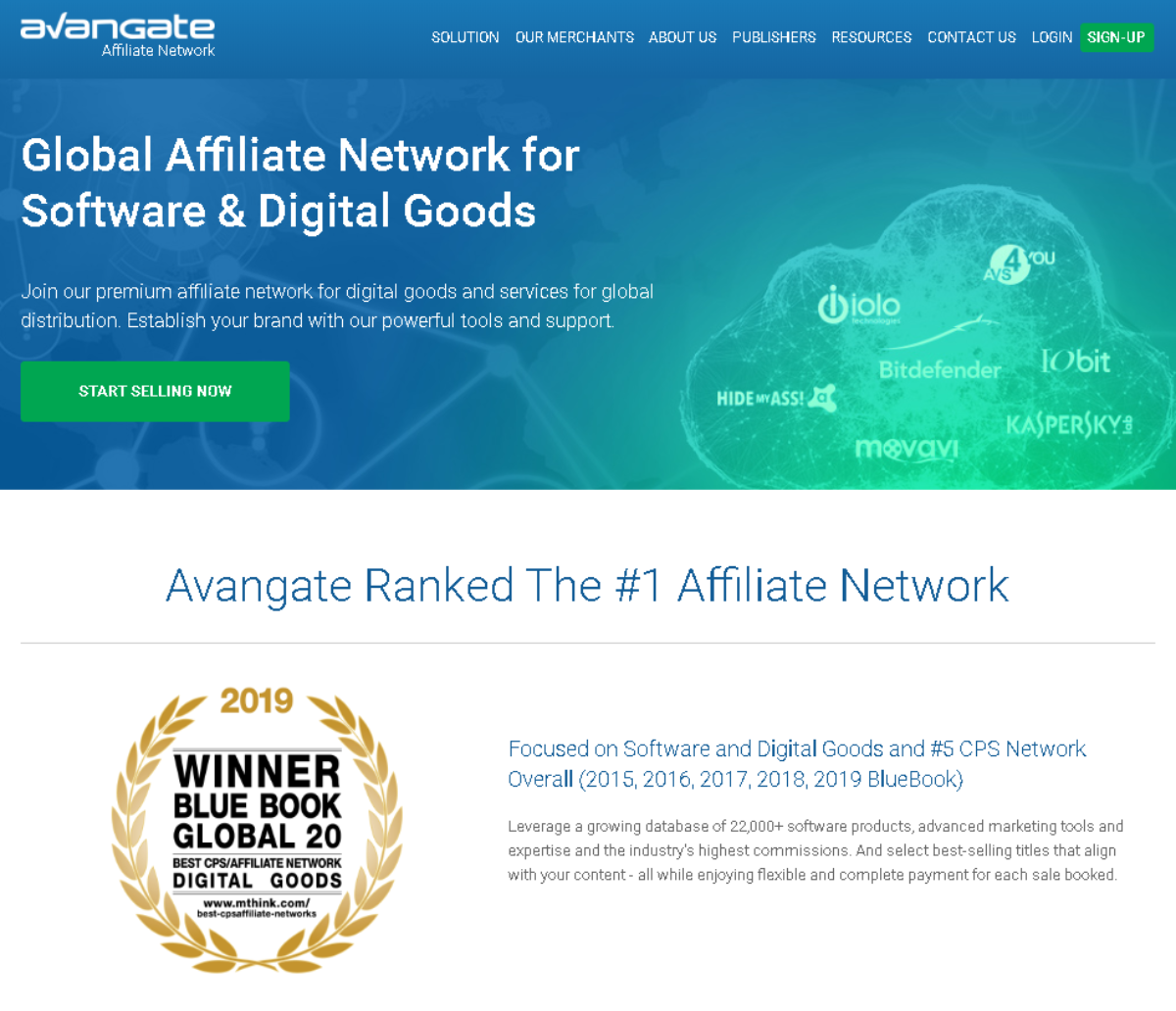 This is a screenshot of the AvangateNetwork.com home page showing they're a leading affiliate network for software and digital goods.