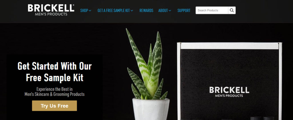 A website screenshot from the Brickell Mens Products site showing an aloe plant and a box of products