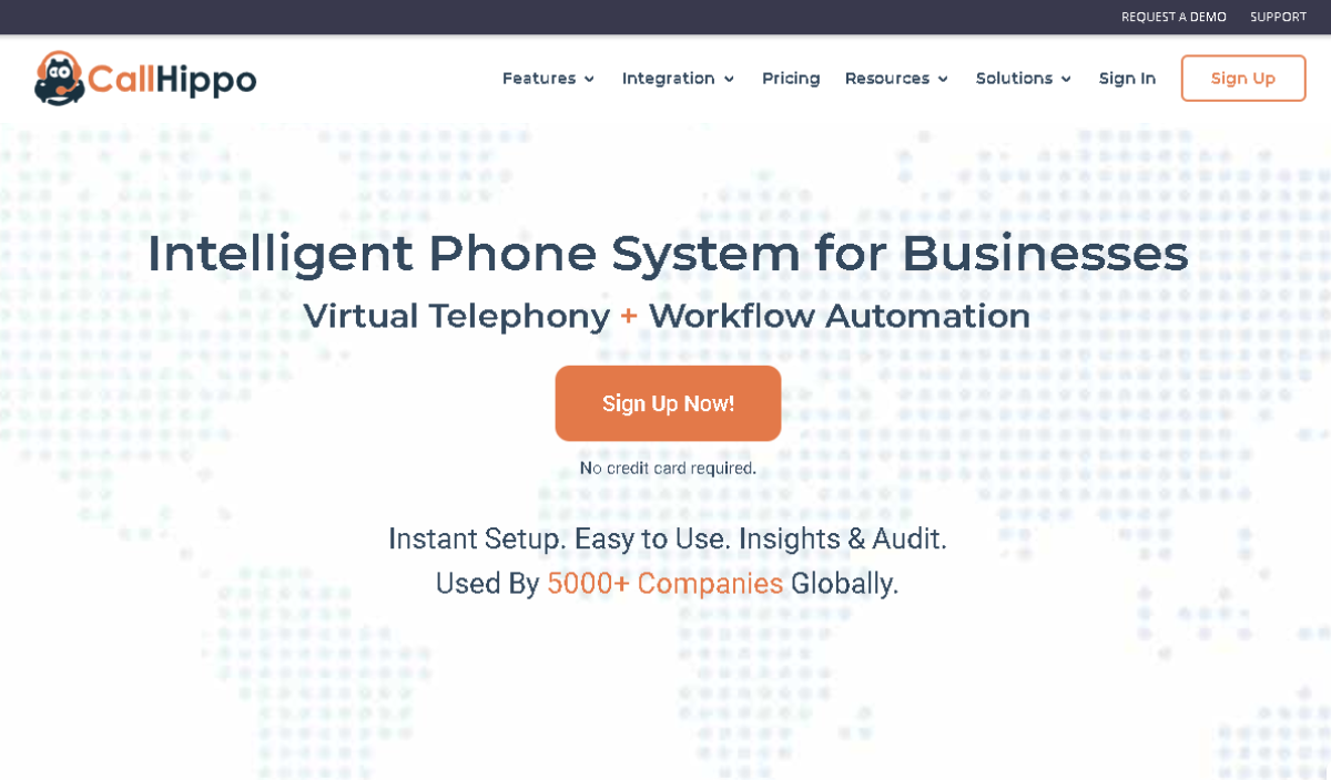 Image shows a screenshot of the Call Hippo landing page that's offering a intellegent VoIP systems with workflow automation software.
