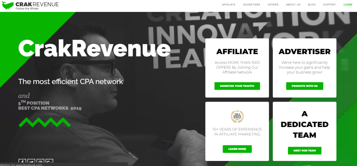 This is a screenshot taken from the Crakrevenue.com website showing they earned 5th position as the best CPA networks in 2019