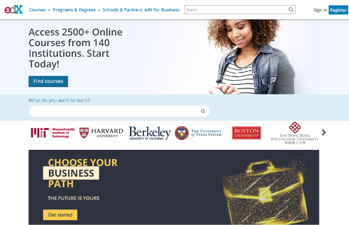 This screenshot taken from the official edX website shows over 2,500 courses available and the platform is partnered with 140 educational faculties across the US.