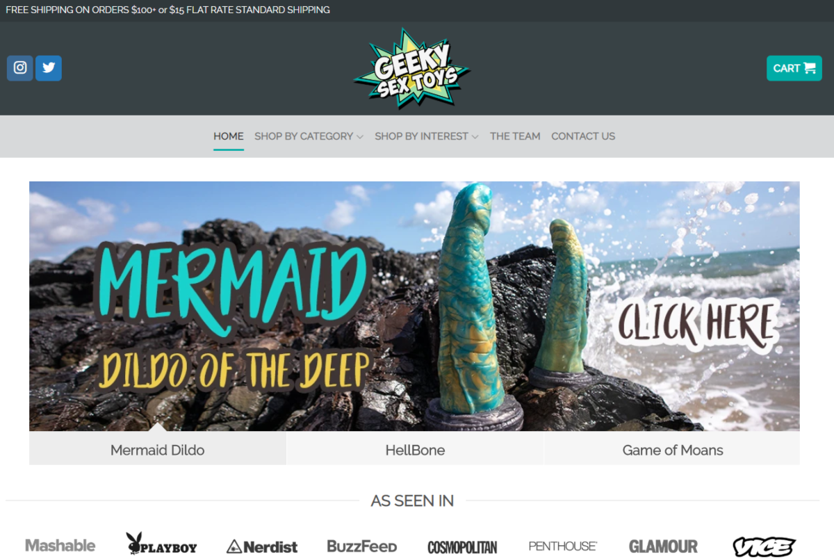 """This screenshot is from the Geeky Sex Toys store highlighting their Mermaid """"Dildo of the Deep"""" collection. All the sex toys here are inspired by pop culture."""