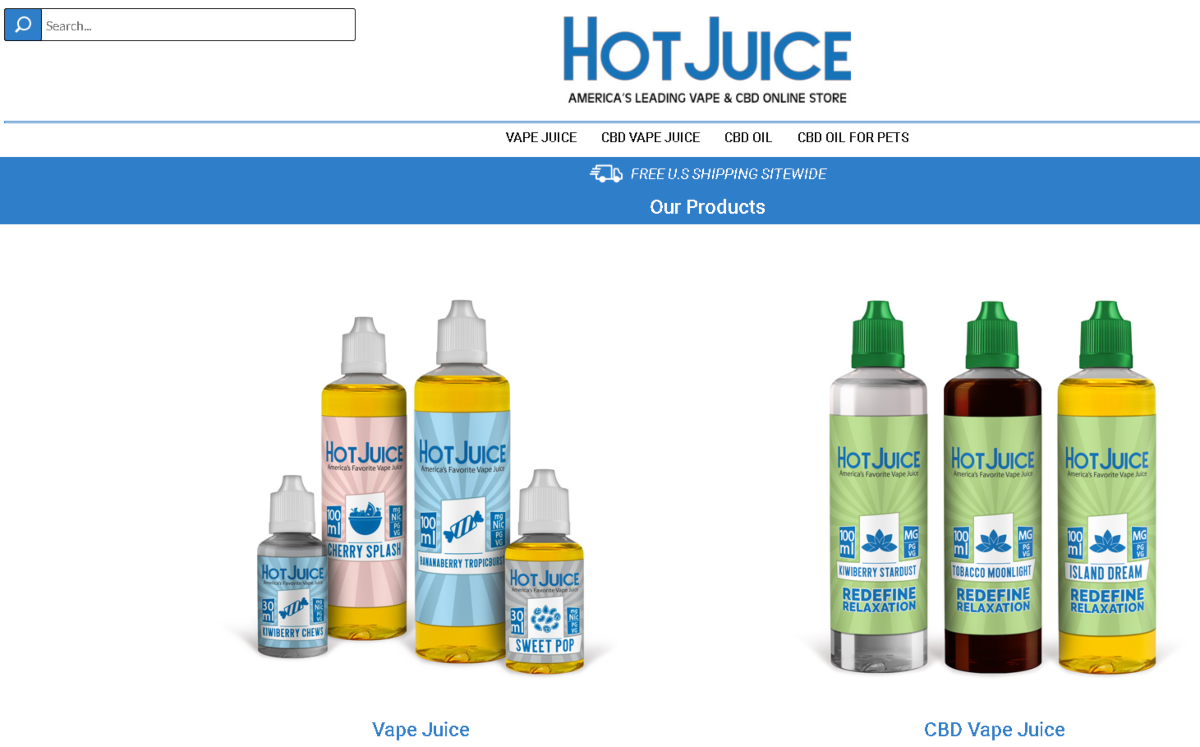 This is a screenshot taken from the Hot Juice website showing they have a variety of vape juices including CPD vape liquids