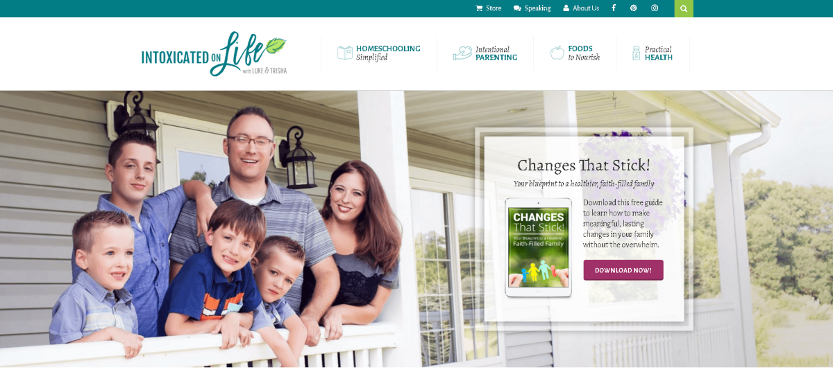 This is a screenshot of the Intoxicatedonlife.com blog that runs an affiliate program for their store where Christian families can find a range of home schooling materials.