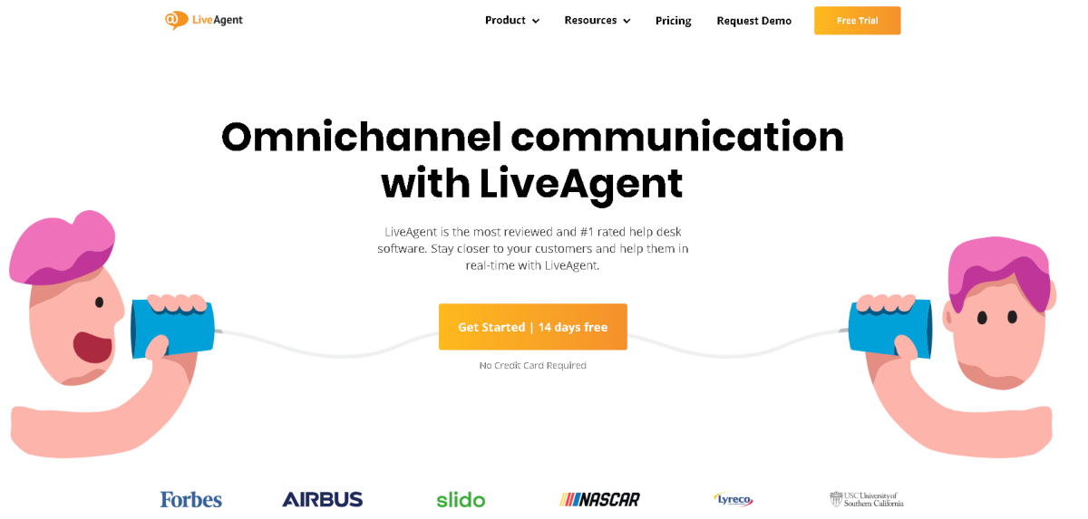 This is a screenshot taken from the LiveAgent.com home page. Affiliates here benefit from the 14-day free trial of Live Agent's omnichannel communication software.