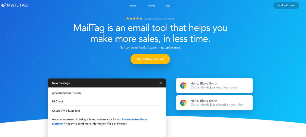 This is a screenshot taken from the mailtag.io website that offers a chrome extension for Gmail users to add more features such as auto-follow up, scheduling, reminders and email tracking.