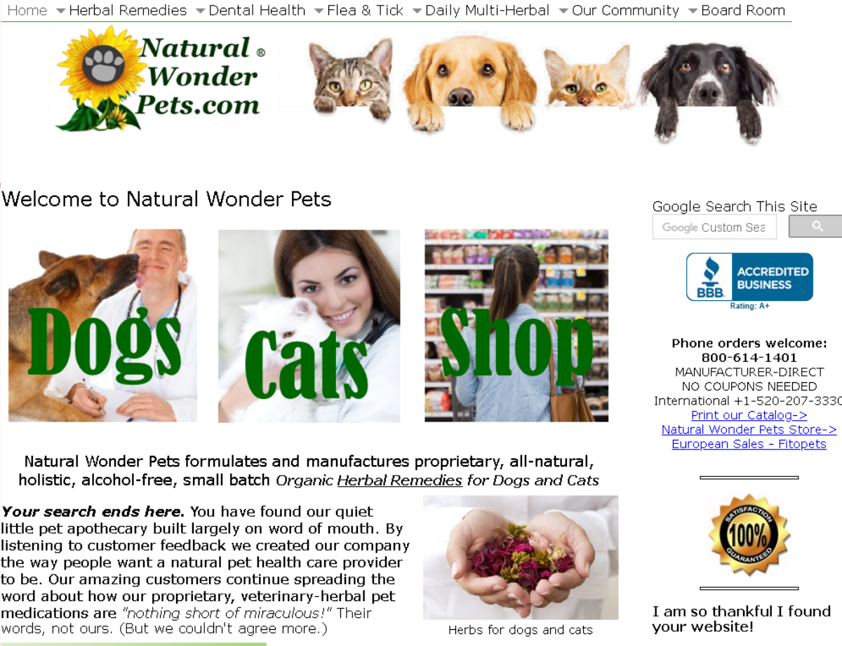 This is a screenshot from the Natural Wonder Pets homepage where the owners make and sell their own natural products for dogs and cats including natural remedies approved by vets.